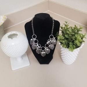 TRENDY FLOATING HEART PEARL NECKLACE SET
